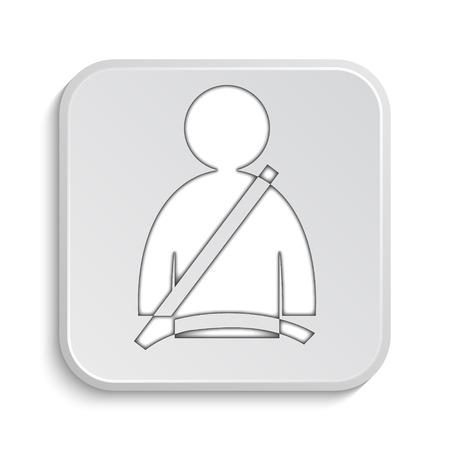 precaution: Safety belt icon. Internet button on white background.