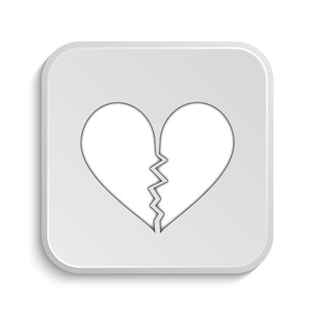 heartbreak: Broken heart icon. Internet button on white background. Stock Photo