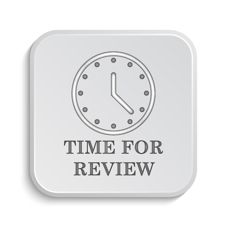 review icon: Time for review icon. Internet button on white background. Stock Photo