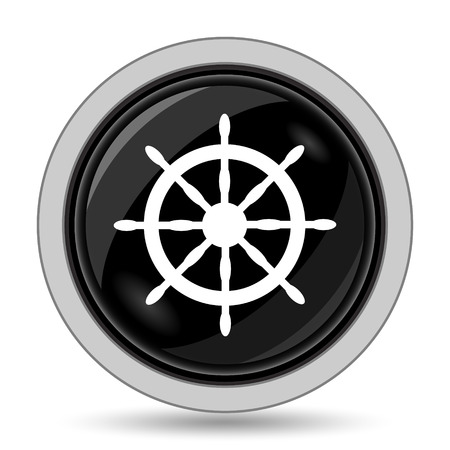dockyard: Nautical wheel icon. Internet button on white background.