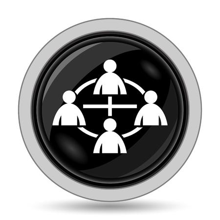 social gathering: Communication icon. Internet button on white background. Stock Photo