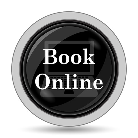 purchase book: Book online icon. Internet button on white background.