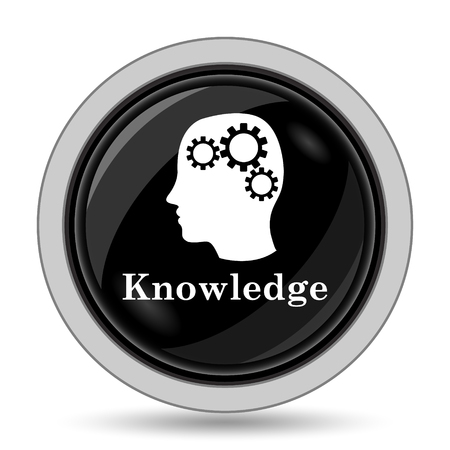 learning icon: Knowledge icon. Internet button on white background. Stock Photo