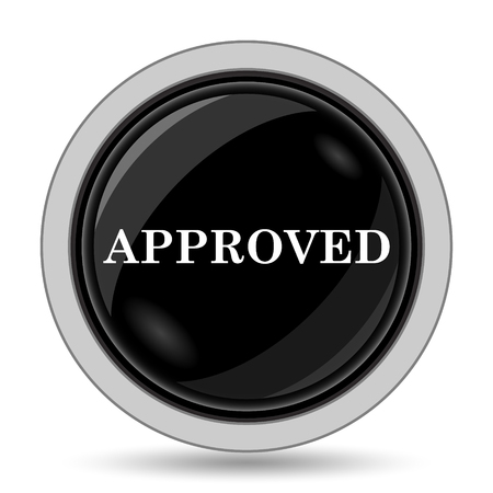 proceed: Approved icon. Internet button on white background. Stock Photo