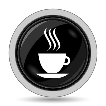 black coffee: cup icon. Internet button on white background.