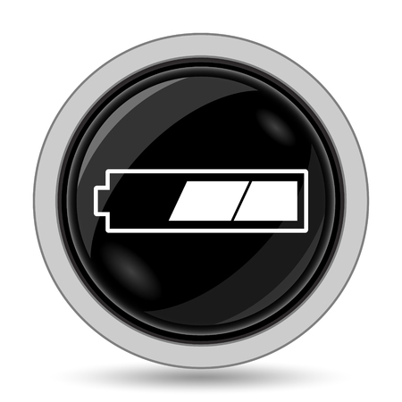 charged: 2 thirds charged battery icon. Internet button on white background.
