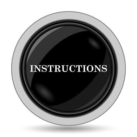 instructions: Instructions icon. Internet button on white background.