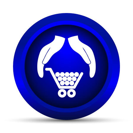 consumer: Consumer protection, protecting hands icon. Internet button on white background.
