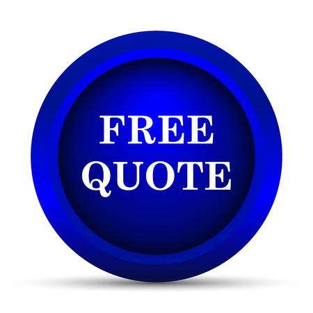 blue button: Free quote icon. Internet button on white background. Stock Photo