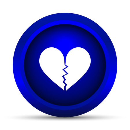 sentiment: Broken heart icon. Internet button on white background. Stock Photo