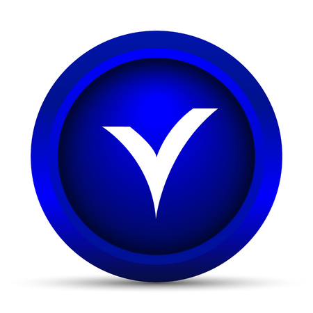 answer approve of: V checked icon. Internet button on white background. Stock Photo