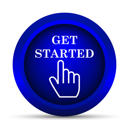 Get started icon. Internet button on white background.