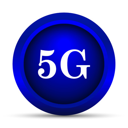 communications tower: 5G icon. Internet button on white background. Stock Photo
