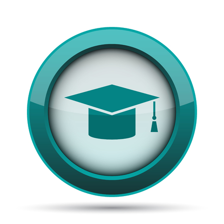 doctorate: Graduation icon. Internet button on white background.