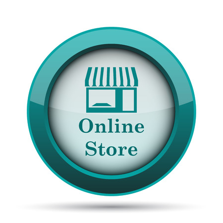 button front: Online store icon. Internet button on white background. Stock Photo