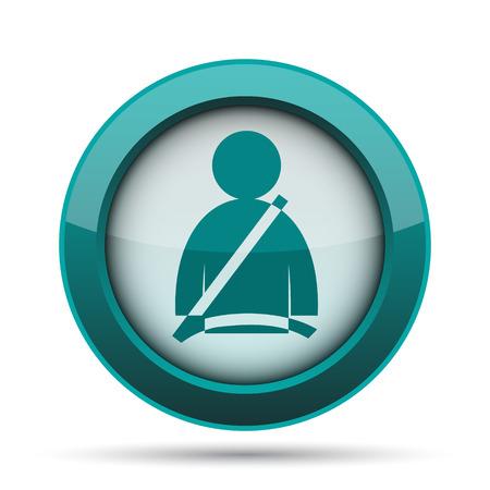 Safety belt icon. Internet button on white background.