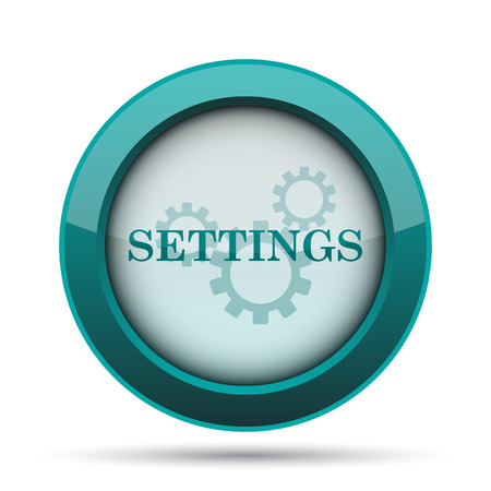 background settings: Settings icon. Internet button on white background. Stock Photo