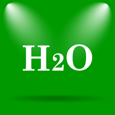 h2o: H2O icon. Internet button on green background.