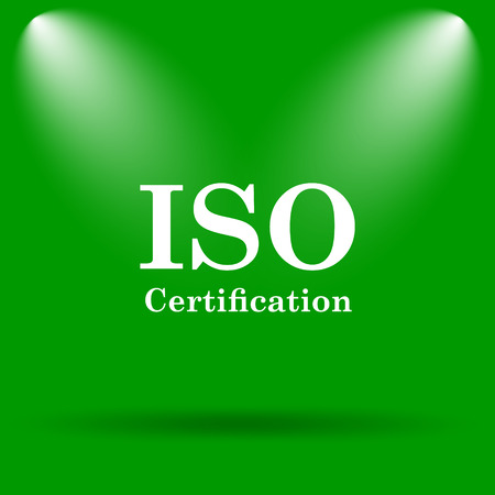 certification: ISO certification icon. Internet button on green background.