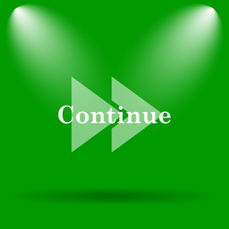 continue: Continue icon. Internet button on green background. Stock Photo