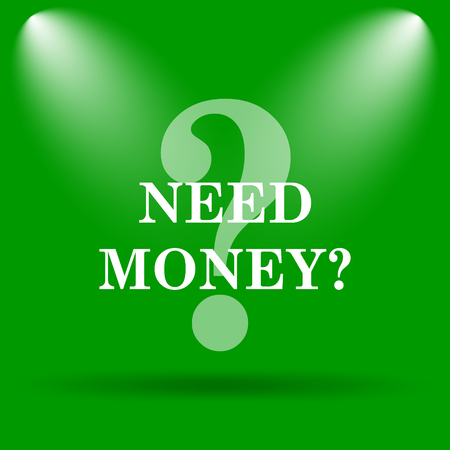 trading questions: Need money icon. Internet button on green background. Stock Photo