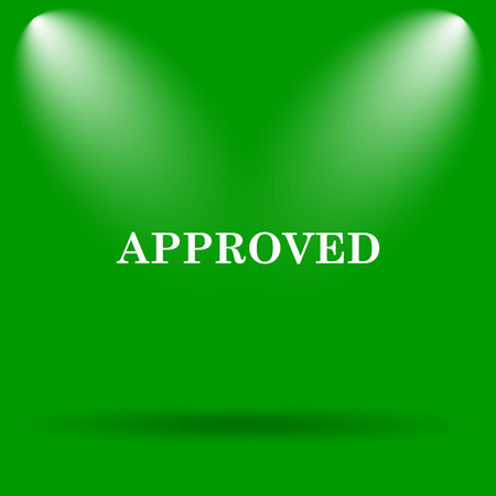 approved icon: Approved icon. Internet button on green background. Stock Photo