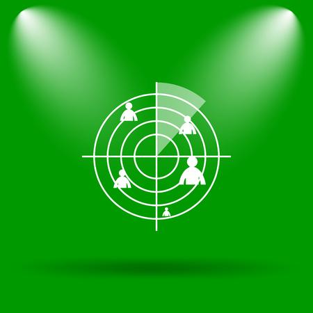 radar: Radar icon. Internet button on green background.