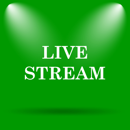 news cast: Live stream icon. Internet button on green background. Stock Photo