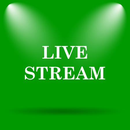 live stream button: Live stream icon. Internet button on green background. Stock Photo