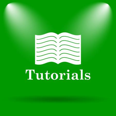 tutorials: Tutorials icon. Internet button on green background. Stock Photo