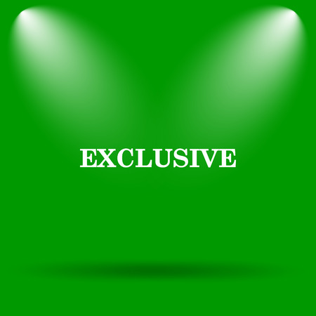 exclusive icon: Exclusive icon. Internet button on green background. Stock Photo