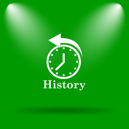 revolve: History icon. Internet button on green background.