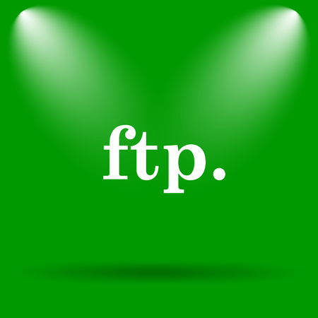 ftp: ftp. icon. Internet button on green background.