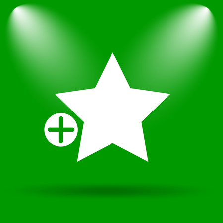 Add to favorites icon. Internet button on green background.