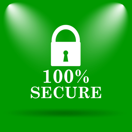 reassurance: 100 percent secure icon. Internet button on green background.