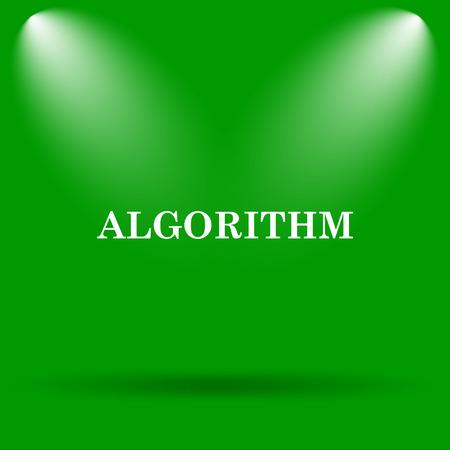 algorithm: Algorithm icon. Internet button on green background.