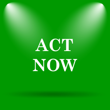 act: Act now icon. Internet button on green background.