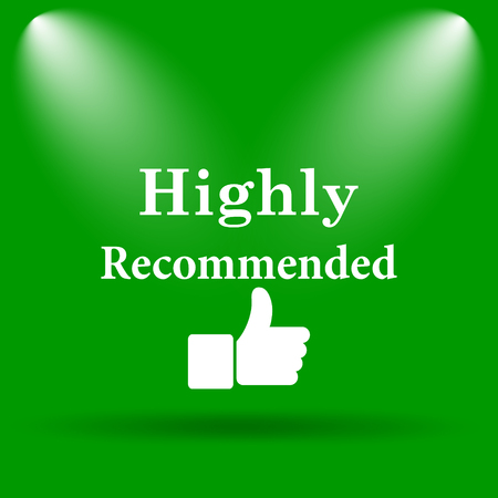 recommendations: Highly recommended icon. Internet button on green background. Stock Photo