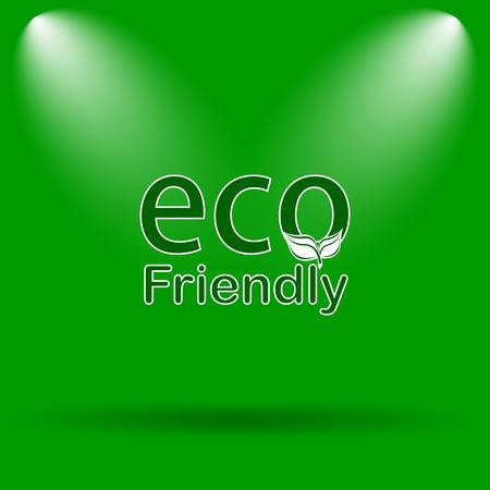 eco friendly icon: Eco Friendly icon. Internet button on green background.