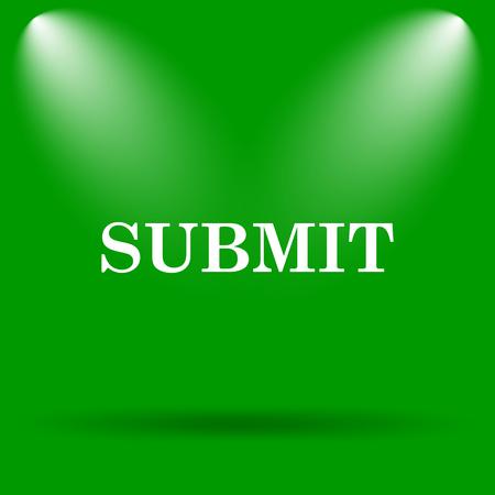 submission: Submit icon. Internet button on green background. Stock Photo