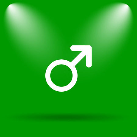 large group of objects: Male sign icon. Internet button on green background.