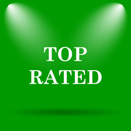 rated: Top rated  icon. Internet button on green background.