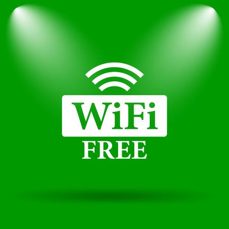 wifi: WIFI free icon. Internet button on green background.