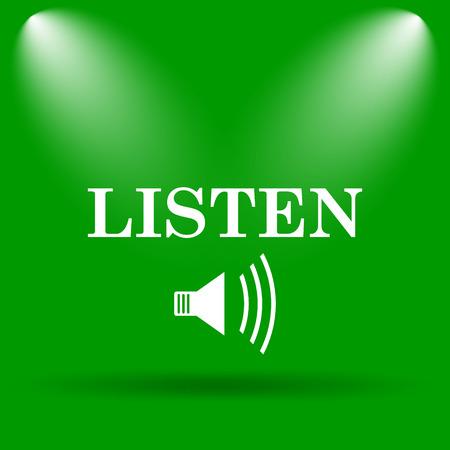 listen: Listen icon. Internet button on green background.