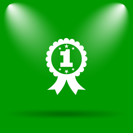 first prize: First prize ribbon icon. Internet button on green background. Stock Photo