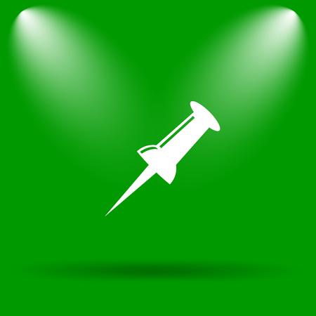 descriptive: Pin icon. Internet button on green background.