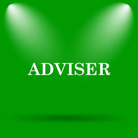 adviser: Adviser icon. Internet button on green background.