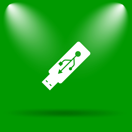 usb pendrive: Usb flash drive icon. Internet button on green background.