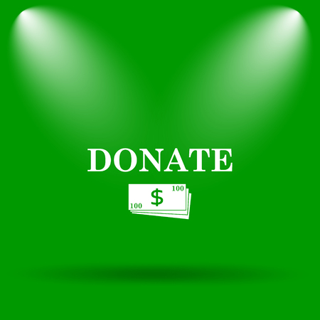 aiding: Donate icon. Internet button on green background.