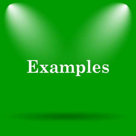 examples: Examples icon. Internet button on green background. Stock Photo